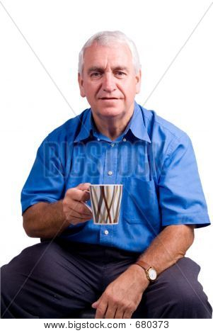Older Man With Mug Isolated (path Included)
