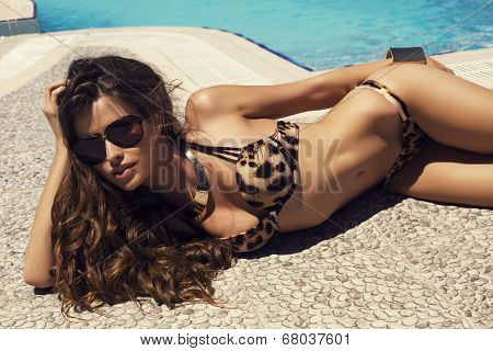 Sexy Woman With Long Hair In Bikini Relaxing Beside A Swimming Pool