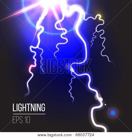 Electric lighting over black background