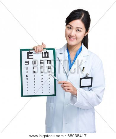 Doctor doing optical test
