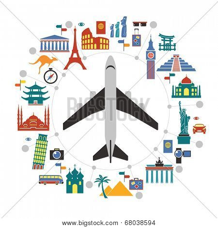 Flat design travel background with landmarks icons and airplane. concept of traveling around the world. Famous international landmarks.