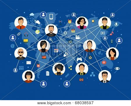 Flat design background the Communications in a global computer network. Avatars set on world map background surrounded interface icons. Social media concept. File is saved in AI10 EPS version.