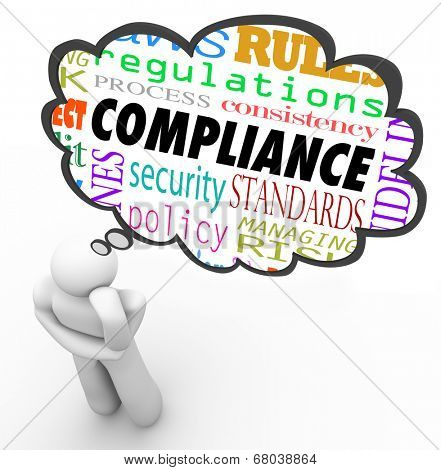 Compliance thought cloud thinking person regulations, rules, laws, guidelines, policy