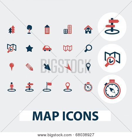 map, route, navigation icons, signs, symbols, vector set