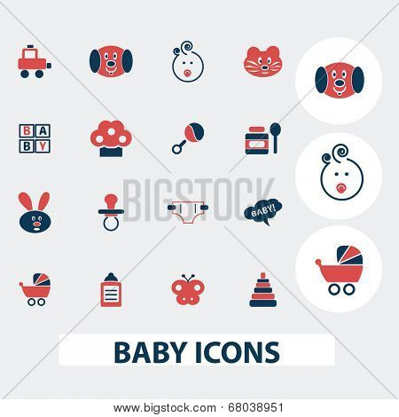 baby, children, toys, games icons, signs, symbols, vector set