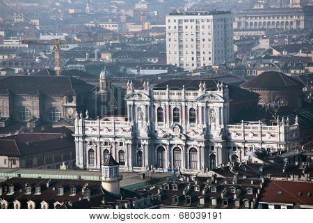 TURIN, ITALY - JANUARY 11, 2013: View to Palazzo Carignano from the Mole Antonelliana. Built in XVII century for Prince of Carignano, now it houses Museum of the Risorgimento