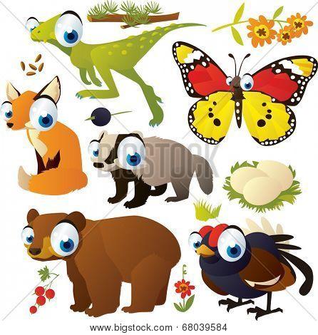 vector cartoon animal set: dinosaur, butterfly, fox, bear, blackcock, nest, badger