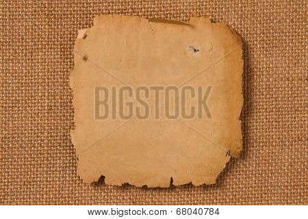 Old Paper, Empty Yellow Page On Hessian Canvas Fabric