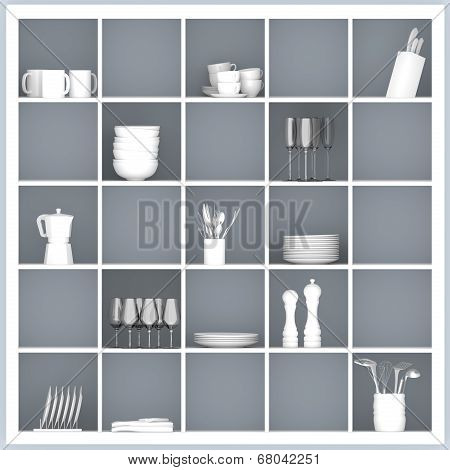 White Kitchen Shelves With Tableware