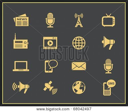 Media icon set. Communication and news concept. Vector icons for news information agency