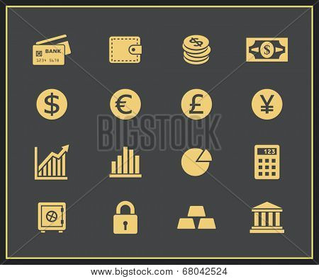 Financal icons set. Vector icons for a financial website dedicated to money and investments
