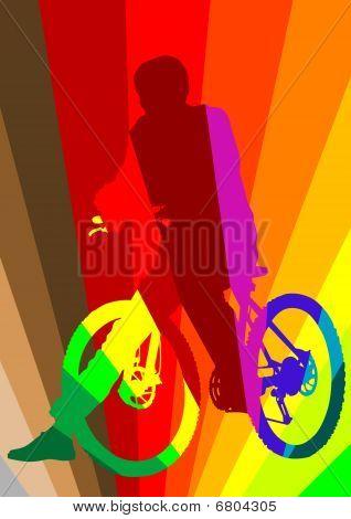 Cyclist in rainbow