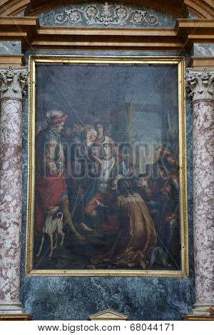 PARMA, ITALY - MAY 01,2014: St Francis of Paola and King Louis XI, altar painting in the church of St Vitale. The church of St Vitale is located in the historic center of Parma, not far from City Hall