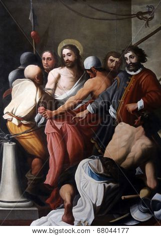 PARMA, ITALY - MAY 01, 2014: Ecce Homo, altar painting in the church of Saint Vitale. The church of St Vitale is located in the historic center of Parma, not far from City Hall