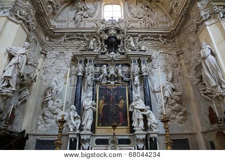 PARMA, ITALY - MAY 01, 2014: Virgin Mary with child Jesus and Saints, altar in the church of Saint Vitale. The church of St Vitale is located in the historic center of Parma, not far from City Hall