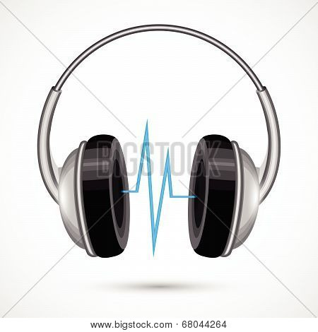 Headphones and soundwave poster