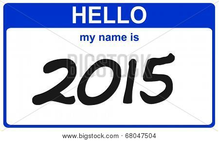hello my name is 2015 blue sticker