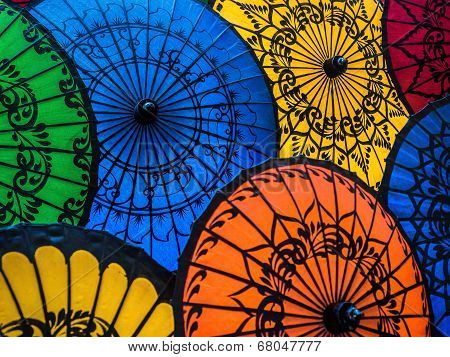 Colorful Asian Umbrellas At Traditional Burmese Street Market