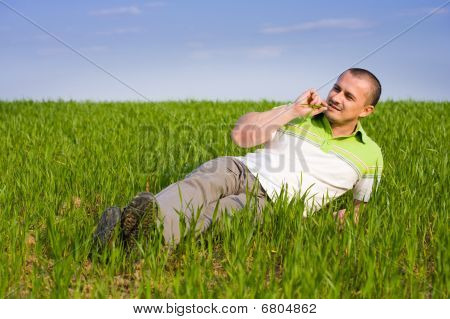 Handsome Man In A Wheat Field