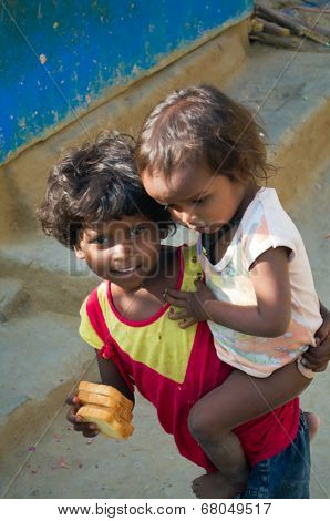 Two Indian Girl In Slum