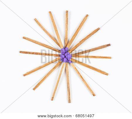 Round Pile Of Purple Matchsticks
