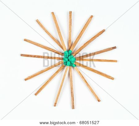 Round Pile Of Green Matchsticks