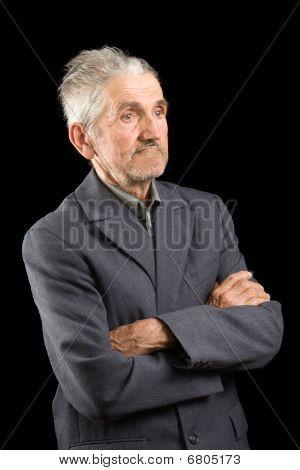 Senior In A Grey Suit