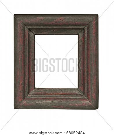 vintage wooden rectangle heavy frame isolated over white background, clipping path