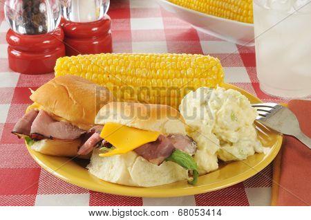 Roast Beef Sliders On A Picnic Table