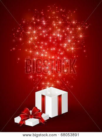 Gift Box And Shining Stars