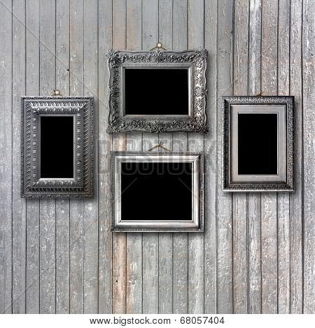 Vintage Silver Frame For Picture On Grey Wooden Wall