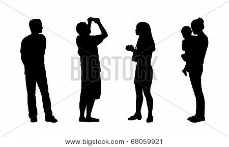 Asian People Standing Outdoor Silhouettes Set 2