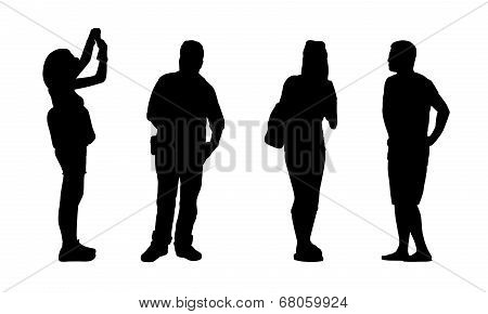 Asian People Standing Outdoor Silhouettes Set 3
