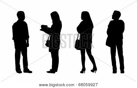 Asian People Standing Outdoor Silhouettes Set 4