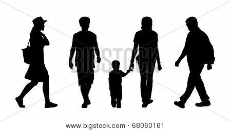 Asian People Walking Outdoor Silhouettes Set 1
