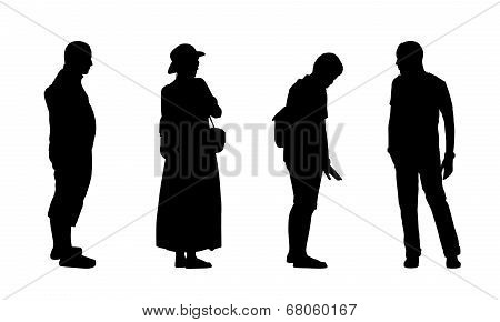 People Standing Outdoor Silhouettes Set 15