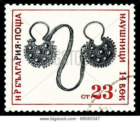 Vintage  Postage Stamp.  Feminine Earphones .