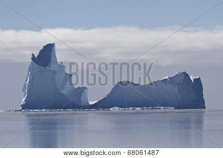 Large Iceberg With A Single Vertex In The Waters Of The Southern Ocean