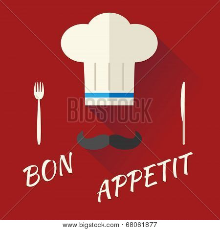 Chief Cook Symbol Toque Cuisine Hat with Mustache Food Icon on Stylish Background Modern Flat Design