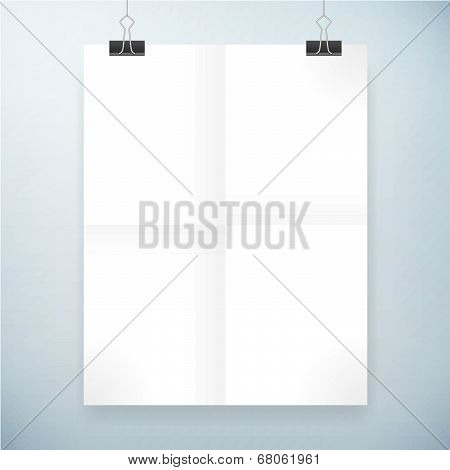 Folded Blank Paper Vector Poster Template