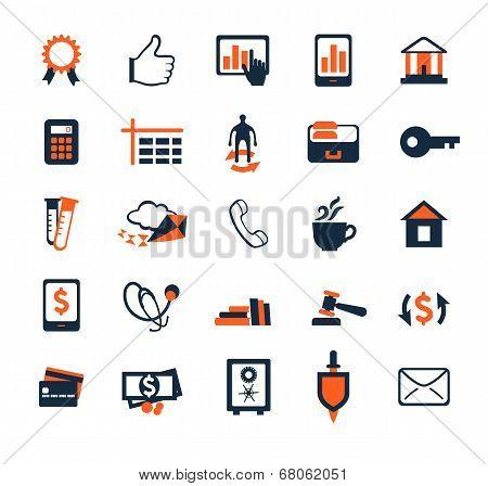 Business Icon Set. Finance, Marketing, E-commerce. Flat Design