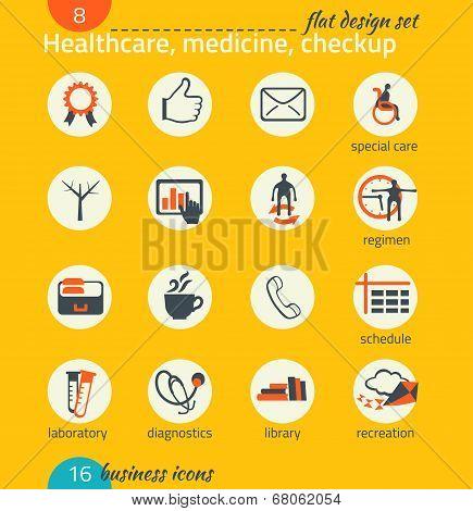 Business Icon Set. Healthcare, Medicine, Diagnostics. Flat Design
