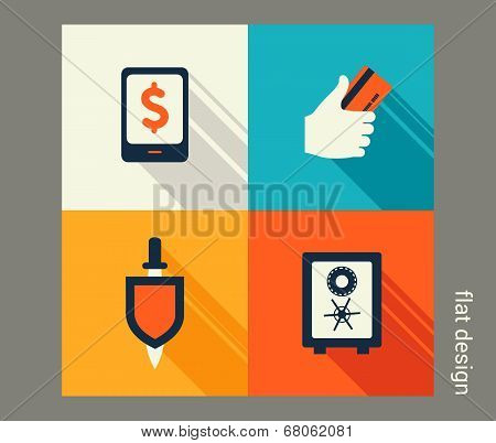 Business Icon Set. Finance And Banking, E-commerce. Flat Design