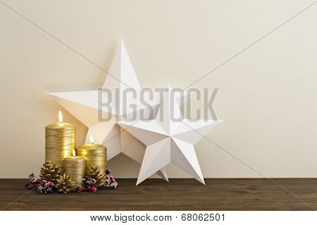 Two Stars With Gold Candles