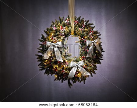 Advent Wreath Over Silver Background