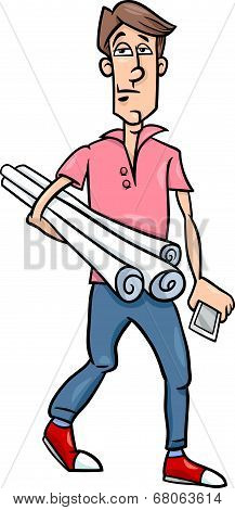 Man With Plans Cartoon Illustration