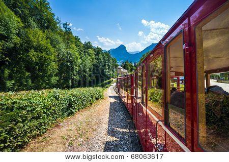 Steam Locomotive Of A Vintage Cogwheel Railway Going To Schafberg Peak