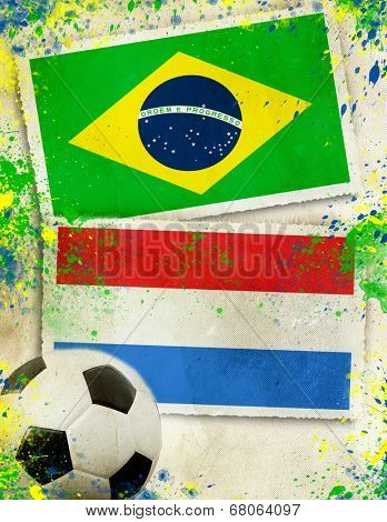 Netherlands vs Brazil soccer ball concept - play-off for third place