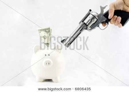 Piggy Bank At Gunpoint