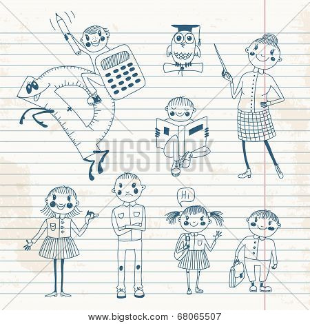 Hand drawn teacher and schoolchildren.